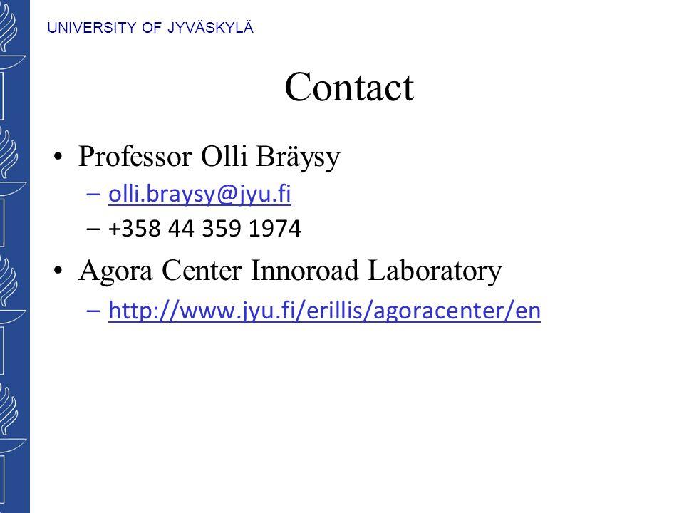 UNIVERSITY OF JYVÄSKYLÄ Contact Professor Olli Bräysy –olli.braysy@jyu.fi –+358 44 359 1974 Agora Center Innoroad Laboratory –http://www.jyu.fi/erilli