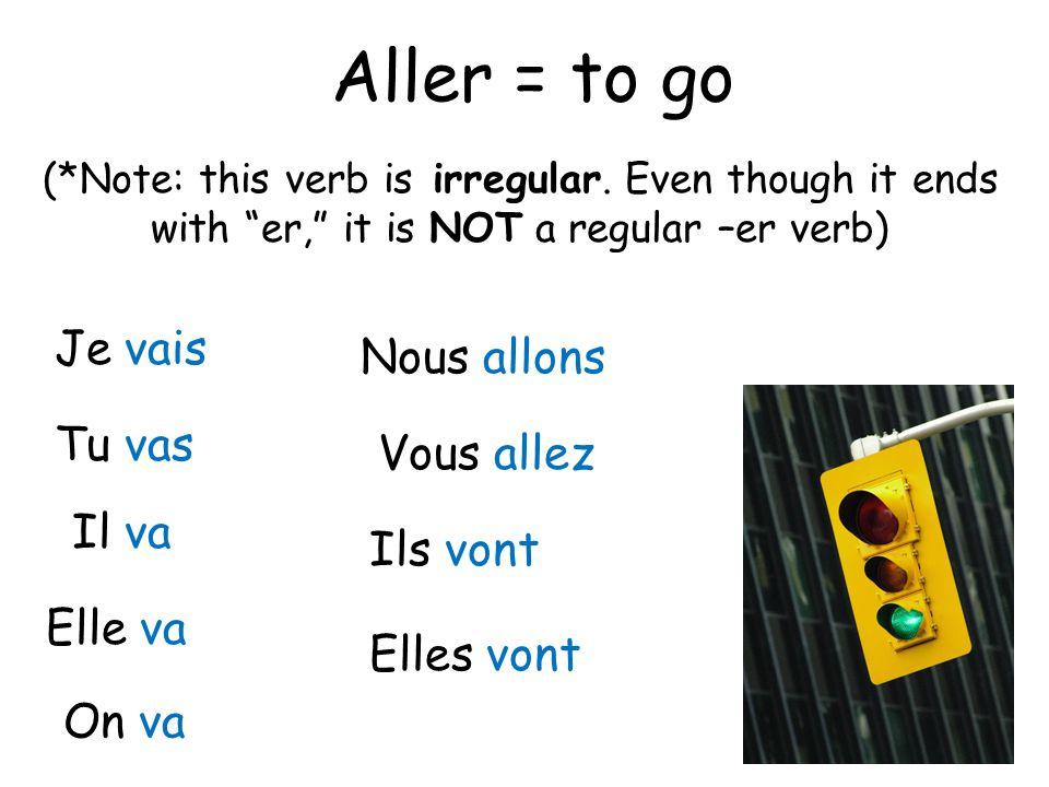 """Aller = to go Je vais Tu vas Il va Elle va On va Nous allons Vous allez Ils vont Elles vont (*Note: this verb is irregular. Even though it ends with """""""