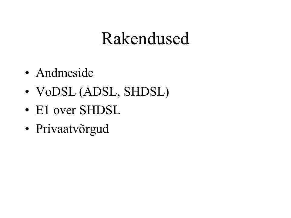 Rakendused Andmeside VoDSL (ADSL, SHDSL) E1 over SHDSL Privaatvõrgud