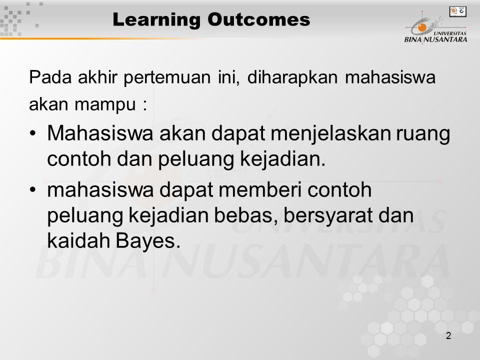 2 Learning Outcomes Pada akhir pertemuan ini, diharapkan mahasiswa akan mampu : Mahasiswa akan dapat menjelaskan ruang contoh dan peluang kejadian. ma