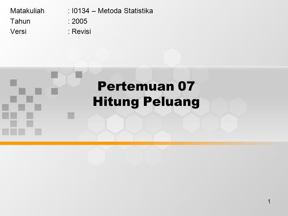 1 Pertemuan 07 Hitung Peluang Matakuliah: I0134 – Metoda Statistika Tahun: 2005 Versi: Revisi