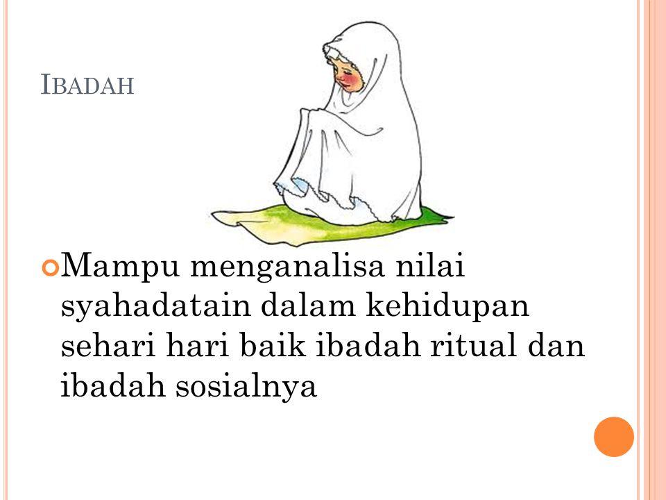 I BADAH Mampu menganalisa nilai syahadatain dalam kehidupan sehari hari baik ibadah ritual dan ibadah sosialnya