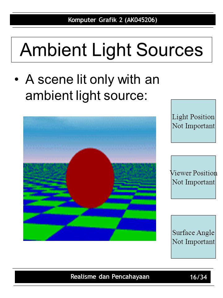 Komputer Grafik 2 (AK045206) Realisme dan Pencahayaan 16/34 Ambient Light Sources A scene lit only with an ambient light source: Light Position Not Important Viewer Position Not Important Surface Angle Not Important
