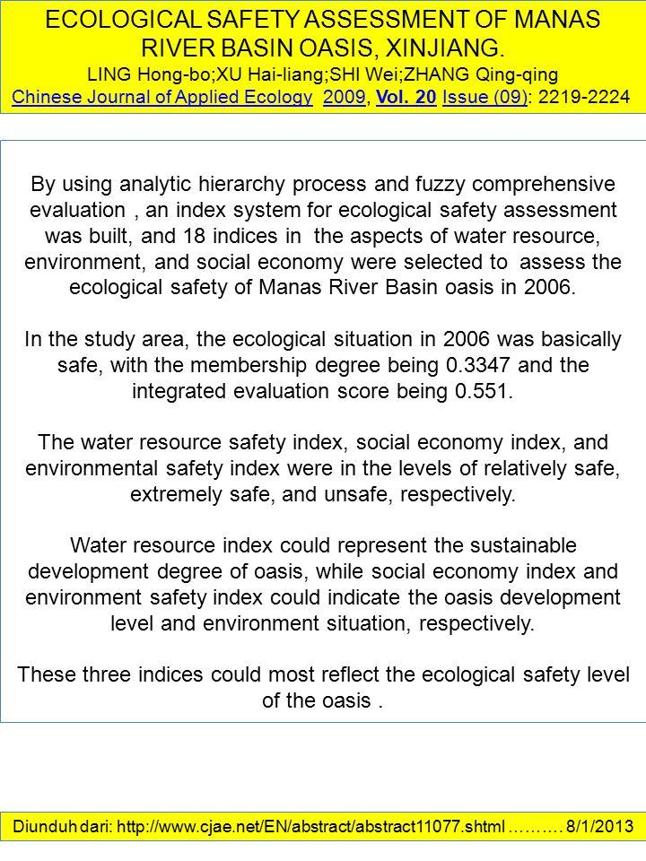 ECOLOGICAL SAFETY ASSESSMENT OF MANAS RIVER BASIN OASIS, XINJIANG. LING Hong-bo;XU Hai-liang;SHI Wei;ZHANG Qing-qing Chinese Journal of Applied Ecolog