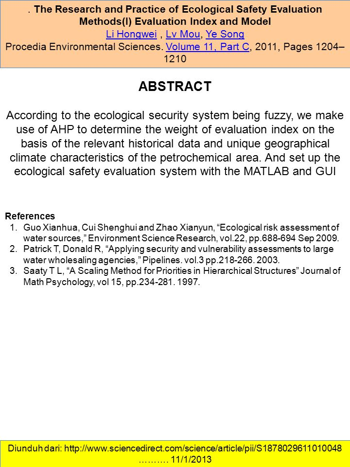 . The Research and Practice of Ecological Safety Evaluation Methods(I) Evaluation Index and Model Li HongweiLi Hongwei, Lv Mou, Ye SongLv MouYe Song P