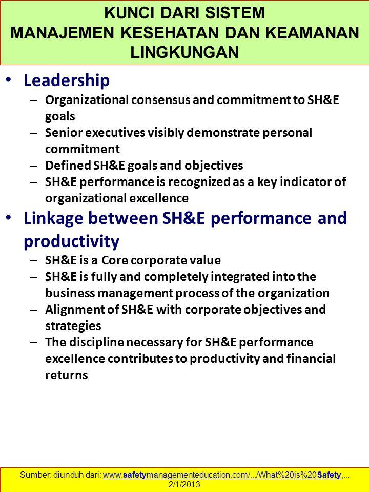 Leadership – Organizational consensus and commitment to SH&E goals – Senior executives visibly demonstrate personal commitment – Defined SH&E goals an