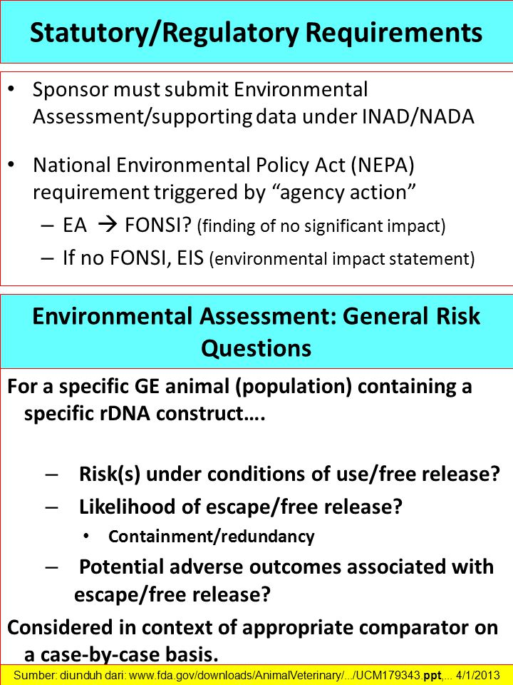 Statutory/Regulatory Requirements Sponsor must submit Environmental Assessment/supporting data under INAD/NADA National Environmental Policy Act (NEPA