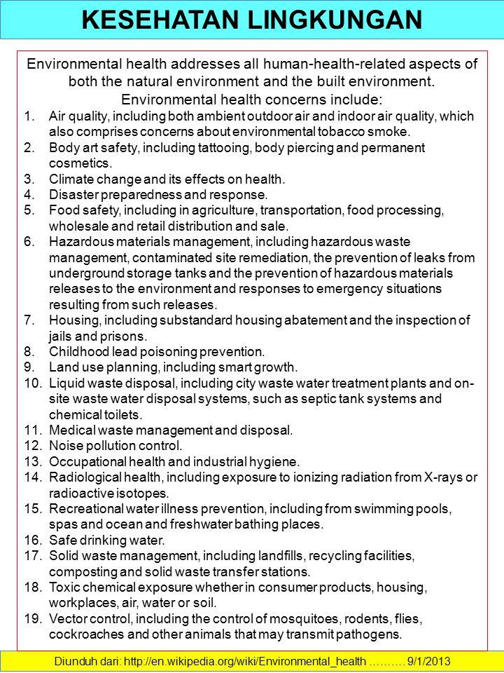 KESEHATAN LINGKUNGAN Diunduh dari: http://en.wikipedia.org/wiki/Environmental_health ………. 9/1/2013 Environmental health addresses all human-health-rel