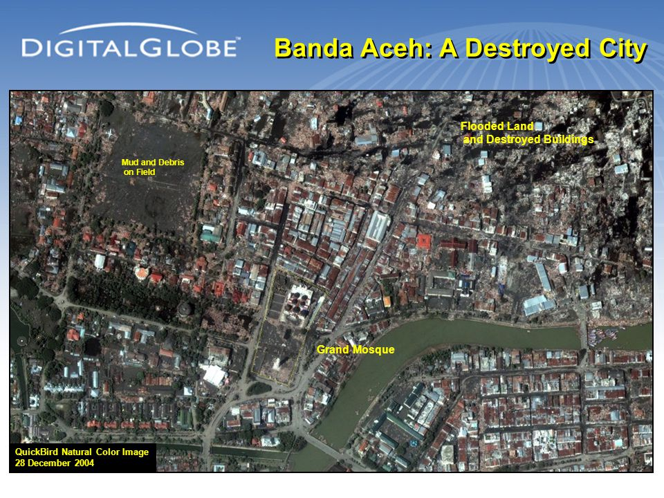 Banda Aceh: A Destroyed City Grand Mosque QuickBird Natural Color Image 28 December 2004 Flooded Land and Destroyed Buildings Mud and Debris on Field