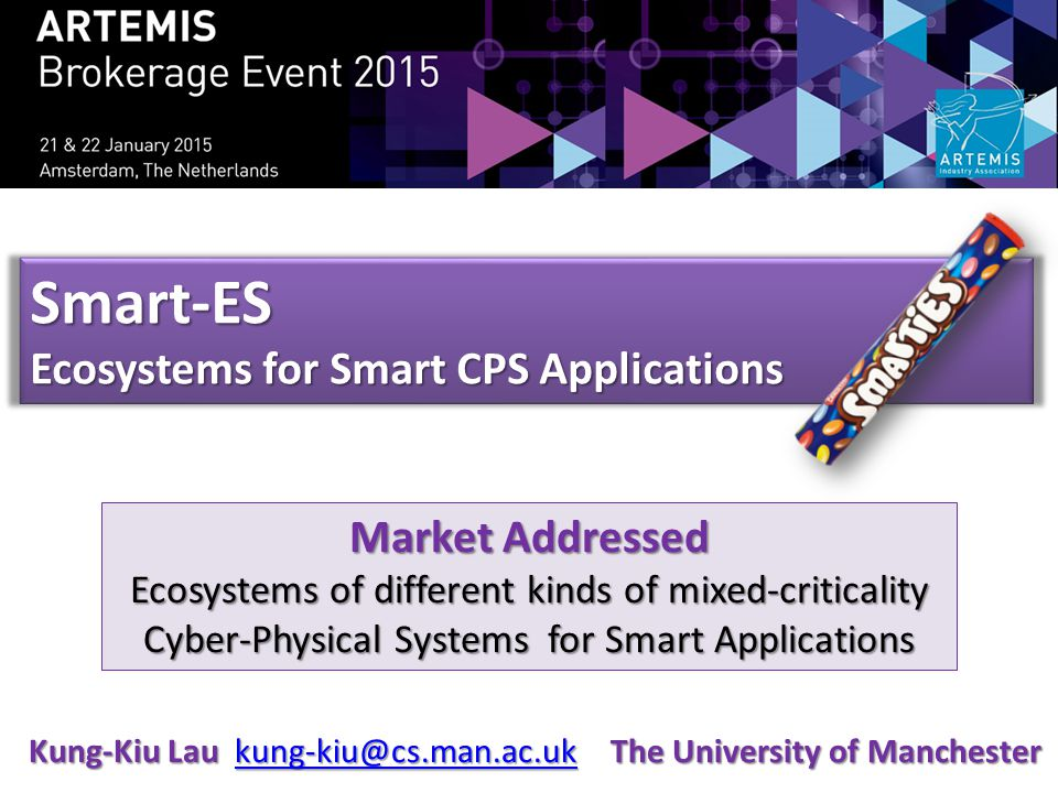 Smart-ES Ecosystems for Smart CPS Applications Market Addressed Ecosystems of different kinds of mixed-criticality Cyber-Physical Systems for Smart Applications Kung-Kiu Lau kung-kiu@cs.man.ac.uk kung-kiu@cs.man.ac.uk The University of Manchester
