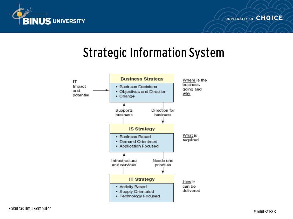 Fakultas Ilmu Komputer Modul-21-23 Strategic Information System