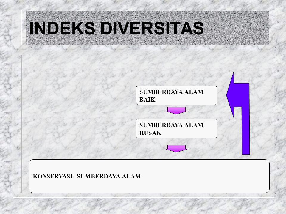 KONSERVASI SUMBERDAYA ALAM SUMBERDAYA ALAM BAIK SUMBERDAYA ALAM RUSAK DIVERSITY & ABUNDANCE INDEKS DIVERSITAS