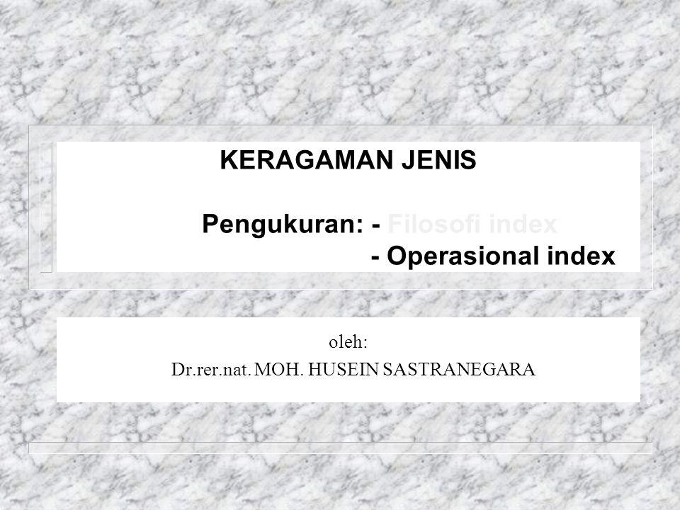 KERAGAMAN JENIS Pengukuran: - Filosofi index - Operasional index oleh: Dr.rer.nat.