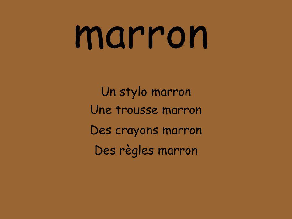 marron Un stylo marron Une trousse marron Des crayons marron Des règles marron