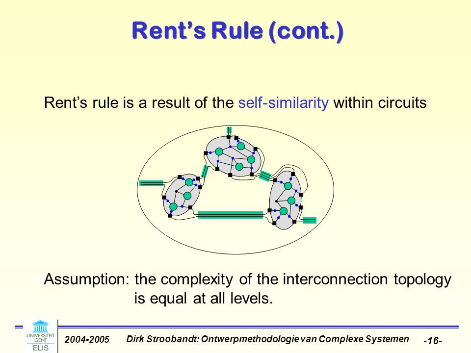 Dirk Stroobandt: Ontwerpmethodologie van Complexe Systemen 2004-2005 -16- Rent's Rule (cont.) Rent's rule is a result of the self-similarity within circuits Assumption: the complexity of the interconnection topology is equal at all levels.