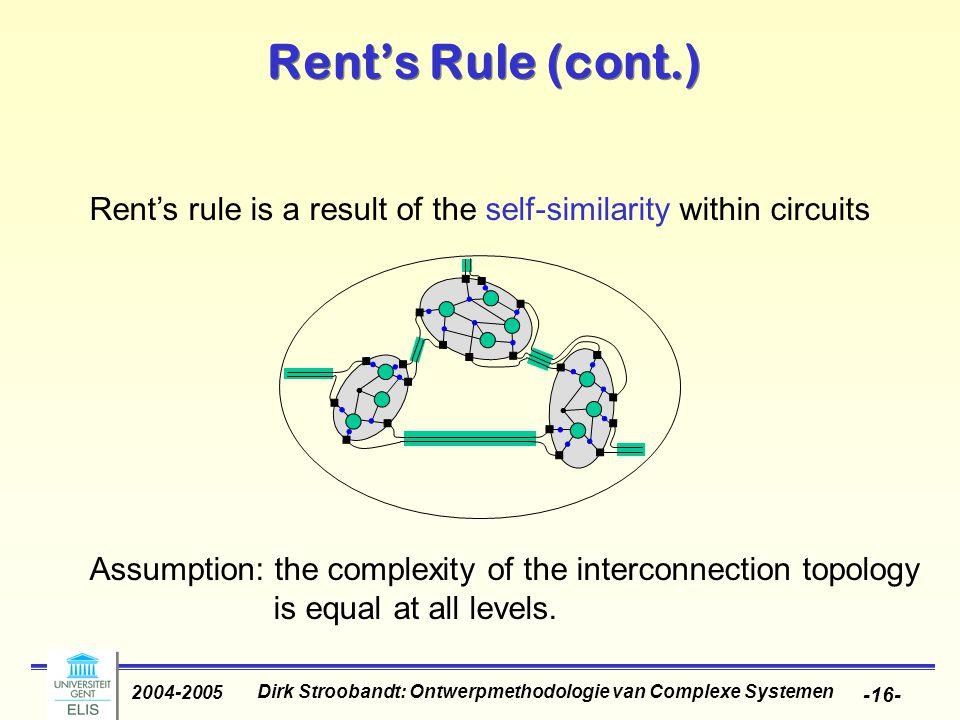 Dirk Stroobandt: Ontwerpmethodologie van Complexe Systemen 2004-2005 -16- Rent's Rule (cont.) Rent's rule is a result of the self-similarity within ci