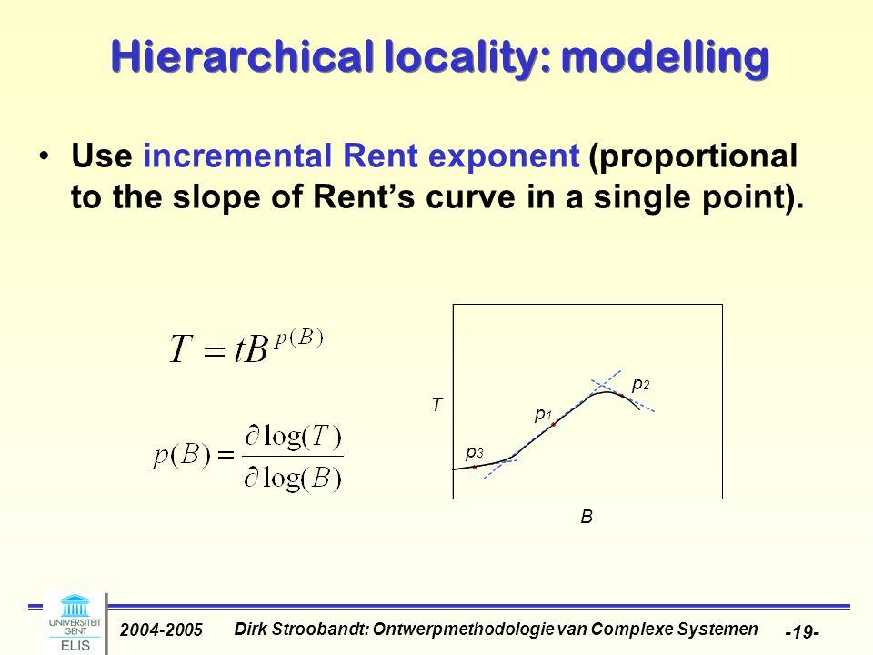 Dirk Stroobandt: Ontwerpmethodologie van Complexe Systemen 2004-2005 -19- Hierarchical locality: modelling Use incremental Rent exponent (proportional