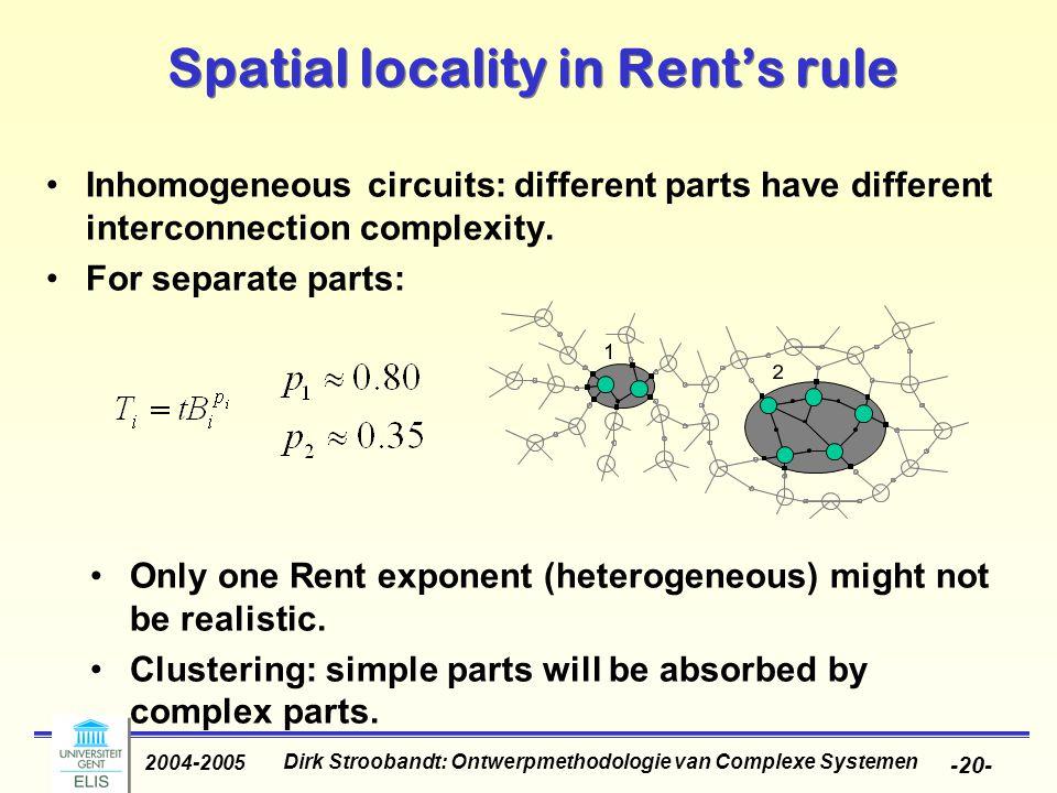 Dirk Stroobandt: Ontwerpmethodologie van Complexe Systemen 2004-2005 -20- Spatial locality in Rent's rule Inhomogeneous circuits: different parts have different interconnection complexity.
