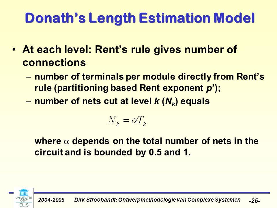 Dirk Stroobandt: Ontwerpmethodologie van Complexe Systemen 2004-2005 -25- Donath's Length Estimation Model At each level: Rent's rule gives number of