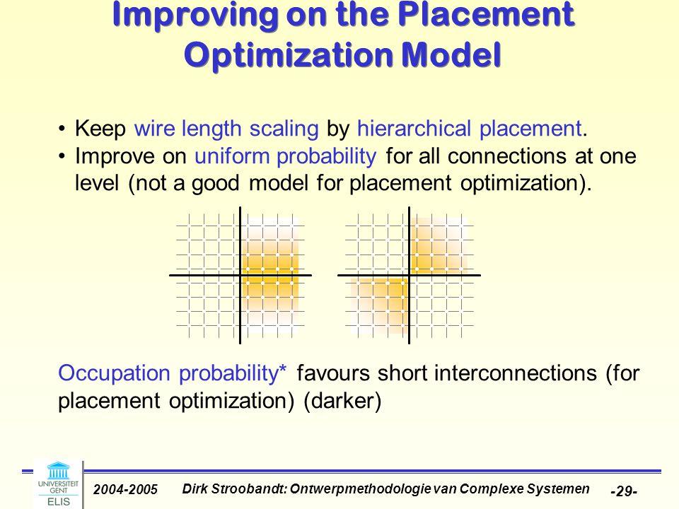 Dirk Stroobandt: Ontwerpmethodologie van Complexe Systemen 2004-2005 -29- Occupation probability* favours short interconnections (for placement optimi