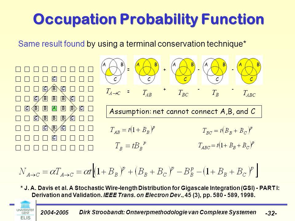 Dirk Stroobandt: Ontwerpmethodologie van Complexe Systemen 2004-2005 -32- Occupation Probability Function Same result found by using a terminal conservation technique* * J.