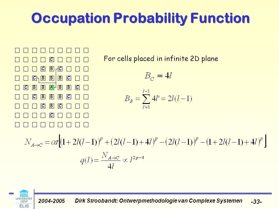 Dirk Stroobandt: Ontwerpmethodologie van Complexe Systemen 2004-2005 -33- Occupation Probability Function For cells placed in infinite 2D plane B B BB