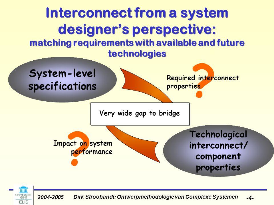Dirk Stroobandt: Ontwerpmethodologie van Complexe Systemen 2004-2005 -4- ? Interconnect from a system designer's perspective: matching requirements wi