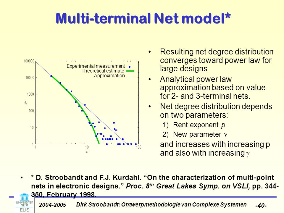 Dirk Stroobandt: Ontwerpmethodologie van Complexe Systemen 2004-2005 -40- Resulting net degree distribution converges toward power law for large designs Analytical power law approximation based on value for 2- and 3-terminal nets.