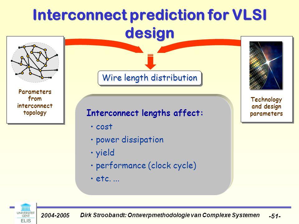 Dirk Stroobandt: Ontwerpmethodologie van Complexe Systemen 2004-2005 -51- Interconnect prediction for VLSI design Parameters from interconnect topolog