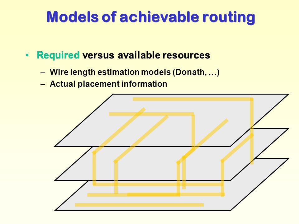 Dirk Stroobandt: Ontwerpmethodologie van Complexe Systemen 2004-2005 -53- –Wire length estimation models (Donath, …) –Actual placement information Mod