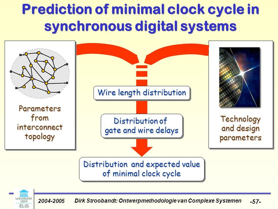 Dirk Stroobandt: Ontwerpmethodologie van Complexe Systemen 2004-2005 -57- Prediction of minimal clock cycle in synchronous digital systems Distributio