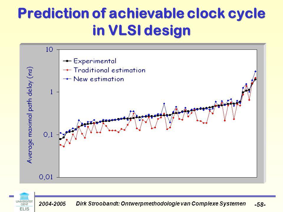 Dirk Stroobandt: Ontwerpmethodologie van Complexe Systemen 2004-2005 -58- Prediction of achievable clock cycle in VLSI design