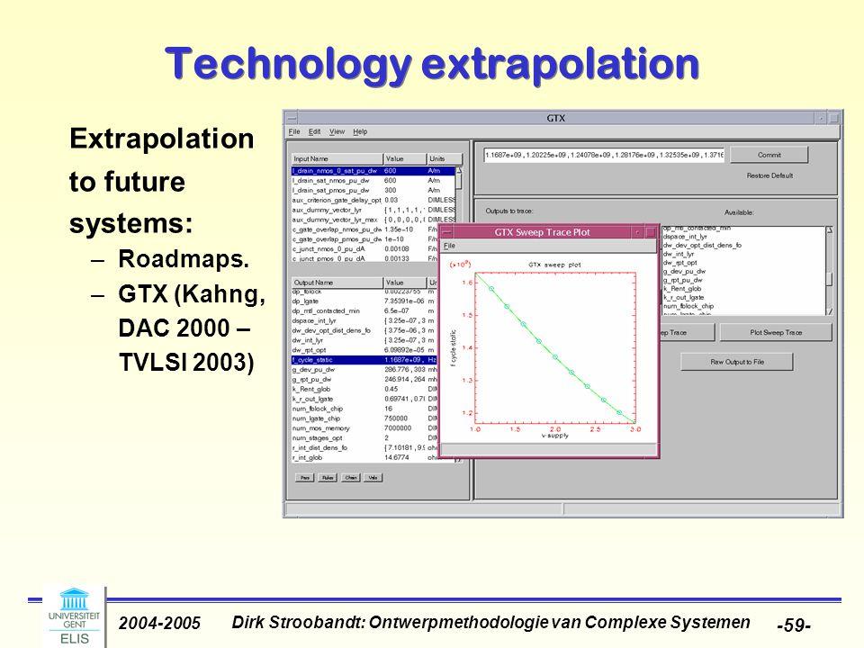 Dirk Stroobandt: Ontwerpmethodologie van Complexe Systemen 2004-2005 -59- Extrapolation to future systems: –Roadmaps.