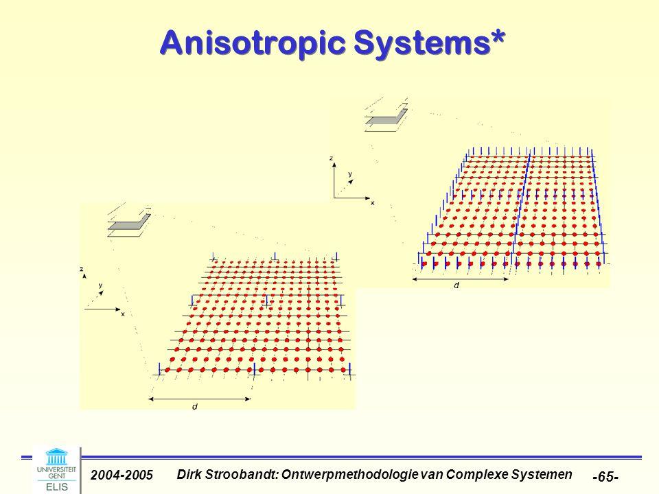 Dirk Stroobandt: Ontwerpmethodologie van Complexe Systemen 2004-2005 -65- Anisotropic Systems*