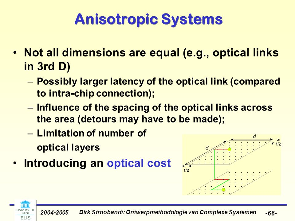Dirk Stroobandt: Ontwerpmethodologie van Complexe Systemen 2004-2005 -66- Anisotropic Systems Not all dimensions are equal (e.g., optical links in 3rd D) –Possibly larger latency of the optical link (compared to intra-chip connection); –Influence of the spacing of the optical links across the area (detours may have to be made); –Limitation of number of optical layers Introducing an optical cost