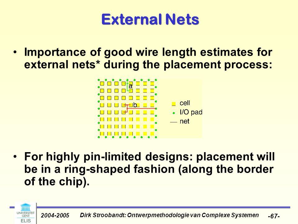 Dirk Stroobandt: Ontwerpmethodologie van Complexe Systemen 2004-2005 -67- External Nets Importance of good wire length estimates for external nets* du