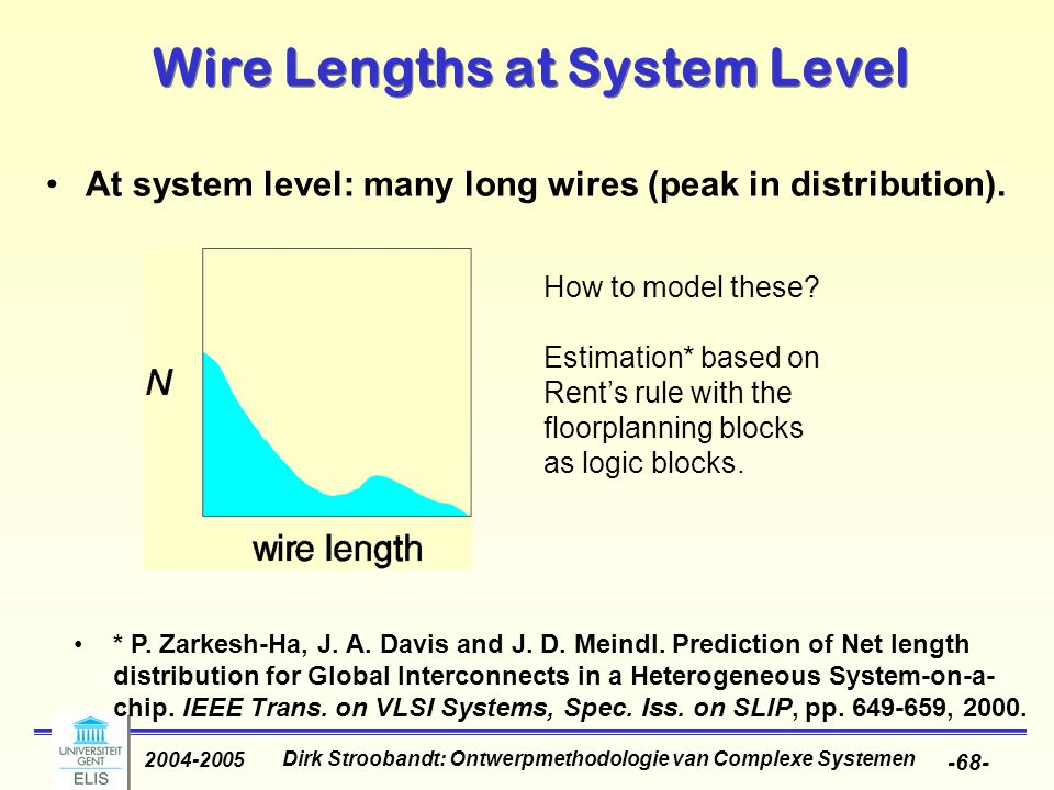 Dirk Stroobandt: Ontwerpmethodologie van Complexe Systemen 2004-2005 -68- Wire Lengths at System Level At system level: many long wires (peak in distr