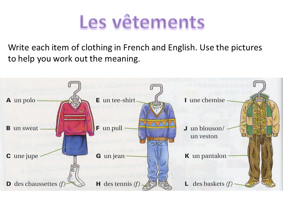 Write each item of clothing in French and English.