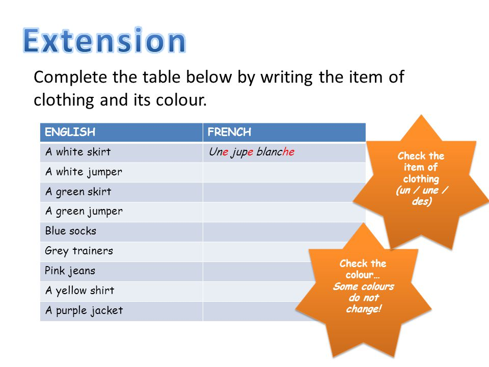 ENGLISHFRENCH A white skirtUne jupe blanche A white jumper A green skirt A green jumper Blue socks Grey trainers Pink jeans A yellow shirt A purple jacket Complete the table below by writing the item of clothing and its colour.
