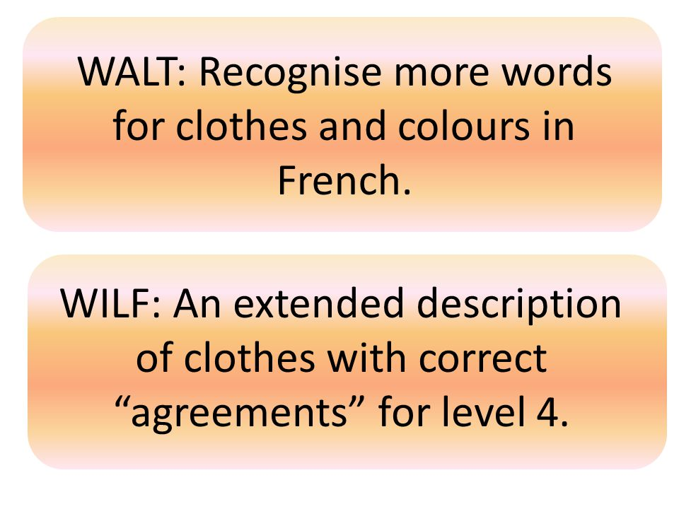 "WALT: Recognise more words for clothes and colours in French. WILF: An extended description of clothes with correct ""agreements"" for level 4."