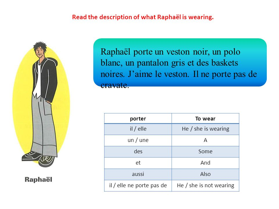 porterTo wear il / elleHe / she is wearing un / uneA desSome etAnd aussiAlso il / elle ne porte pas deHe / she is not wearing Raphaël porte un veston noir, un polo blanc, un pantalon gris et des baskets noires.