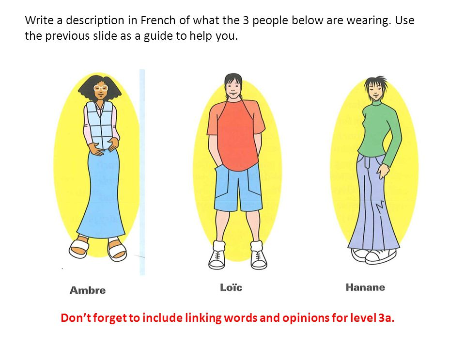 Write a description in French of what the 3 people below are wearing. Use the previous slide as a guide to help you. Don't forget to include linking w