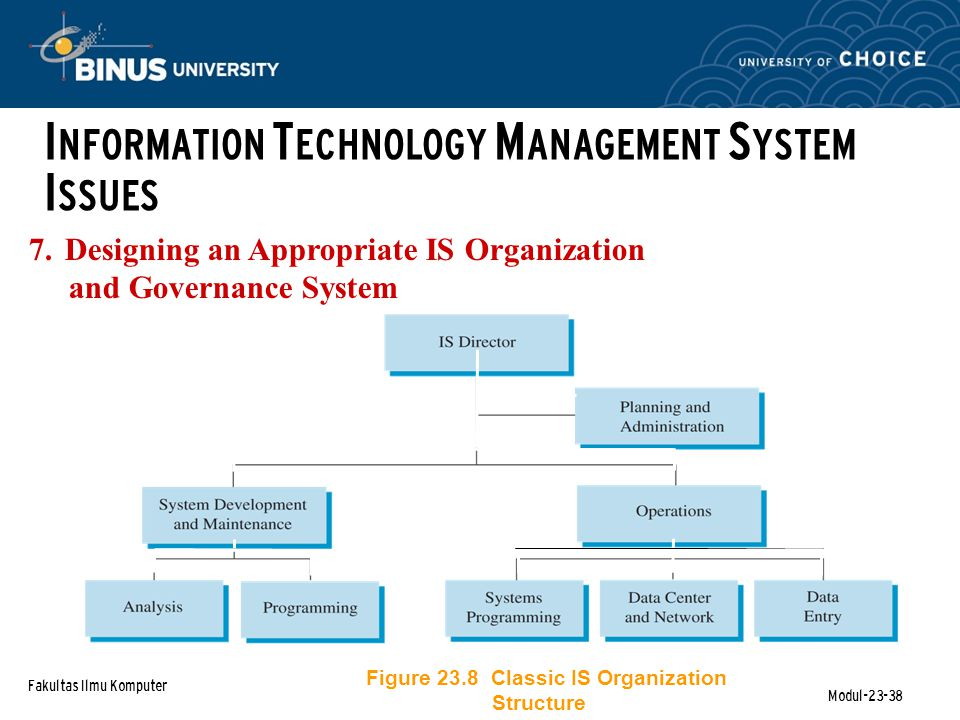 Fakultas Ilmu Komputer Modul-23-38 7.Designing an Appropriate IS Organization and Governance System I NFORMATION T ECHNOLOGY M ANAGEMENT S YSTEM I SSUES Figure 23.8 Classic IS Organization Structure