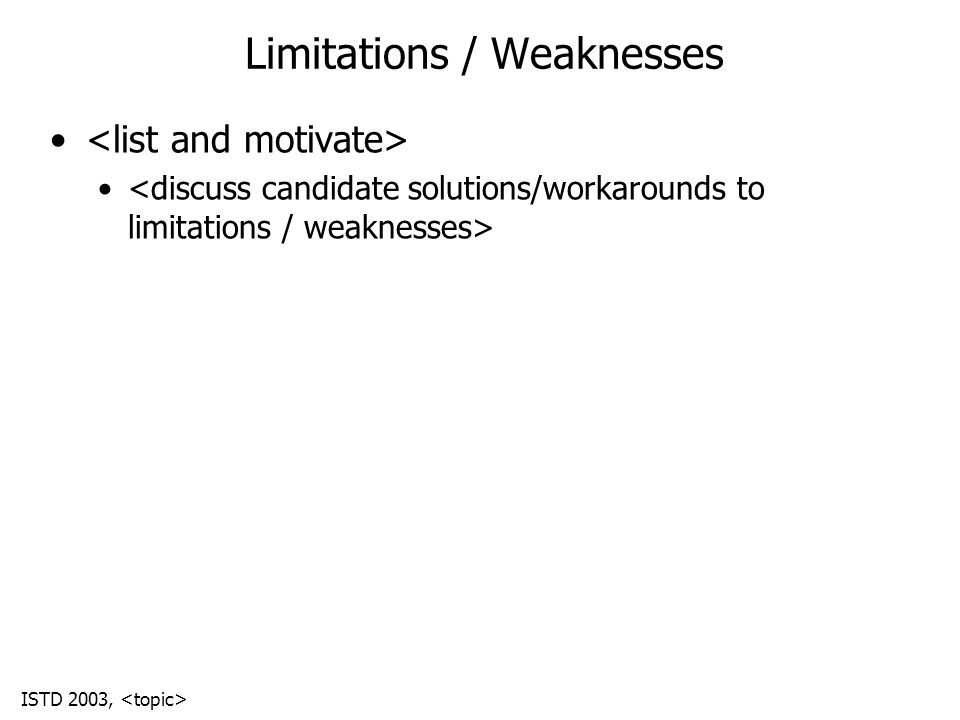 ISTD 2003, Limitations / Weaknesses