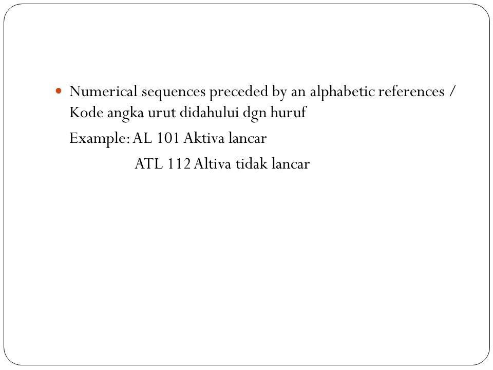 Numerical sequences preceded by an alphabetic references / Kode angka urut didahului dgn huruf Example: AL 101 Aktiva lancar ATL 112 Altiva tidak lancar