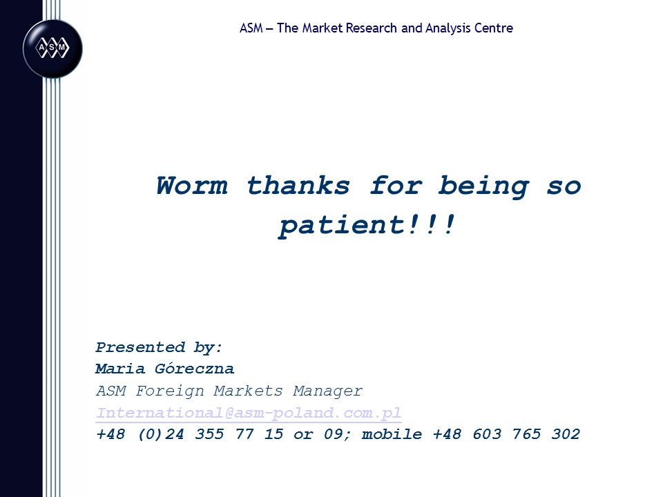 ASM – The Market Research and Analysis Centre Worm thanks for being so patient!!.
