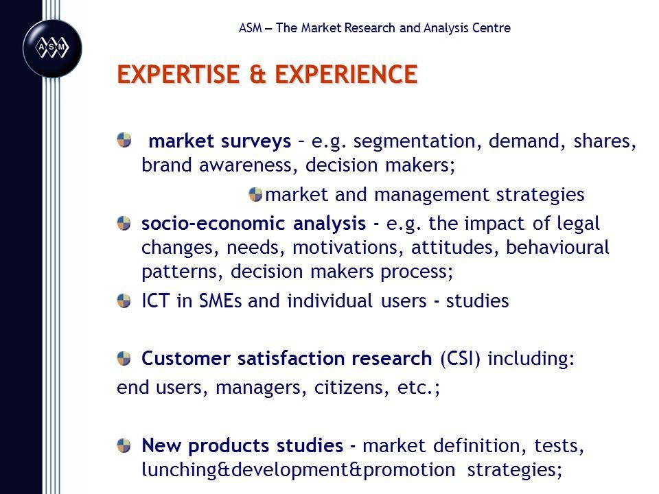 EXPERTISE & EXPERIENCE market surveys – e.g.