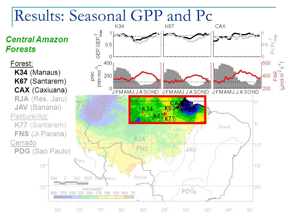 Results: Seasonal GPP and Pc Central Amazon Forests Forest: K34 (Manaus) K67 (Santarem) CAX (Caxiuana) RJA (Res.