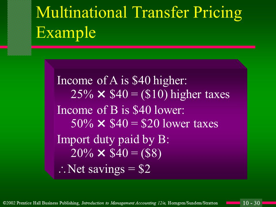 ©2002 Prentice Hall Business Publishing, Introduction to Management Accounting 12/e, Horngren/Sundem/Stratton 10 - 29 Multinational Transfer Pricing Example Which transfer price should be chosen.