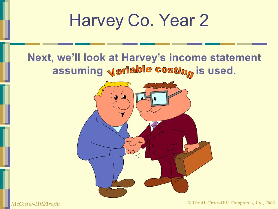 © The McGraw-Hill Companies, Inc., 2003 McGraw-Hill/Irwin Harvey Co. Year 2 Next, we'll look at Harvey's income statement assuming is used.